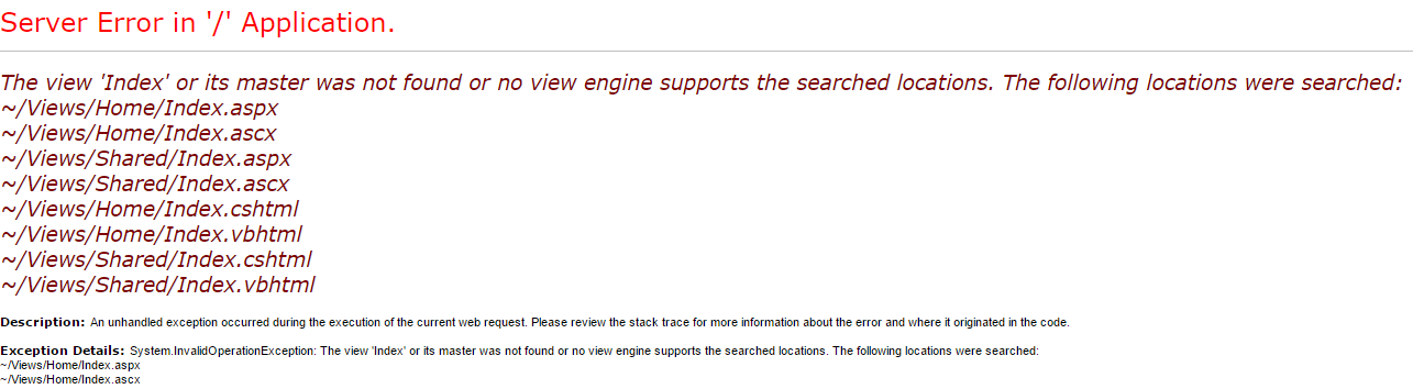 The view 'Index' or its master was not found or no view engine supports the searched locations
